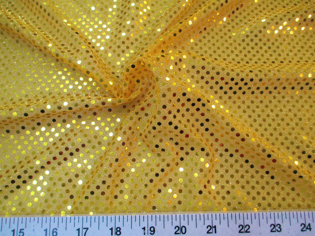 Stretch Glitter Mesh Sequin Dots Yellow Gold Sheer Sparkle