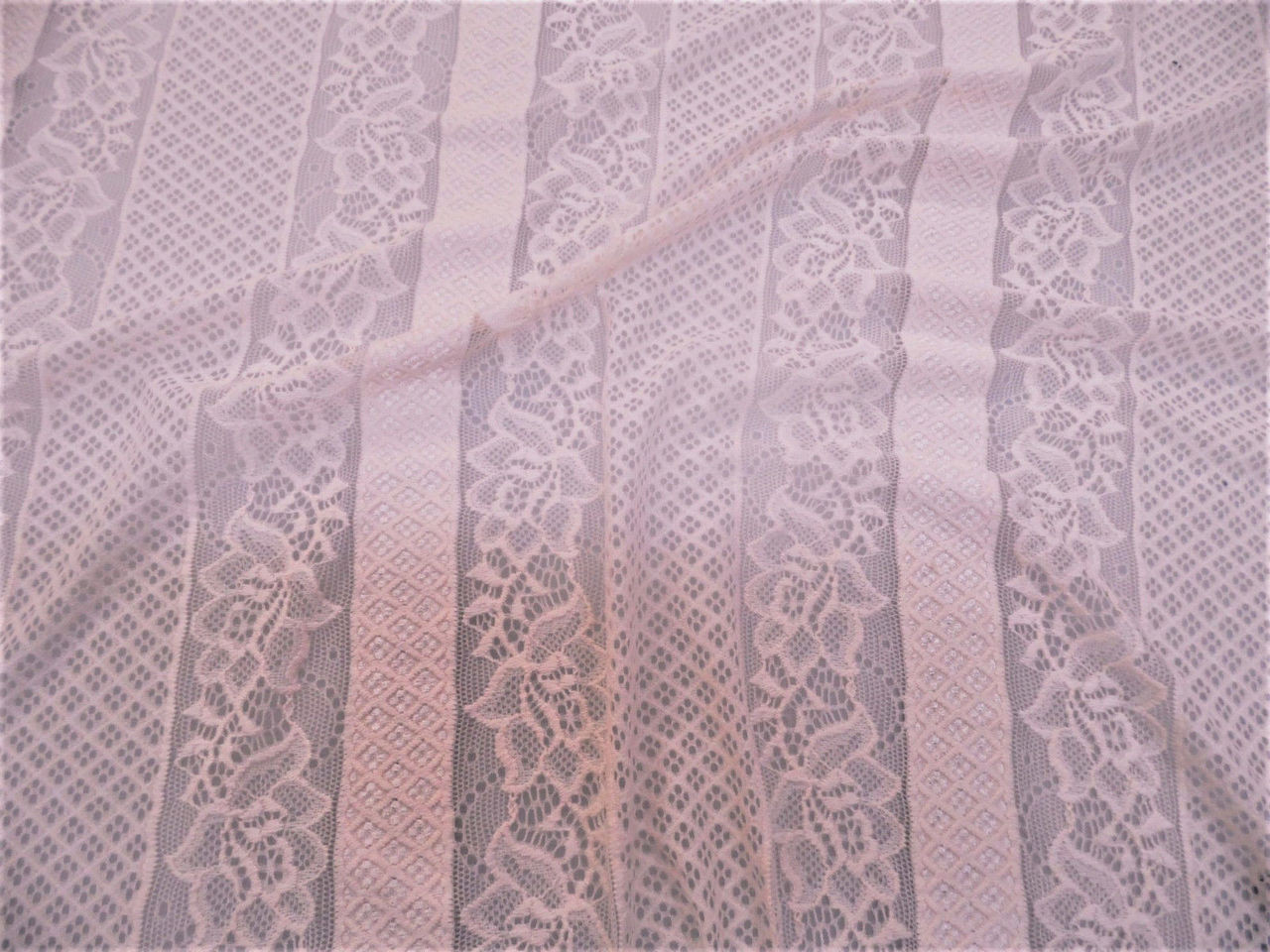 Discount Fabric Stretch Mesh Lace White Embroidered Floral Stripe Sheer D204