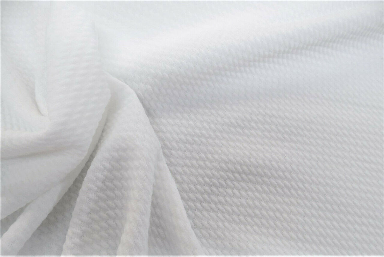 Bullet Textured Liverpool Fabric 4 way Stretch White S10