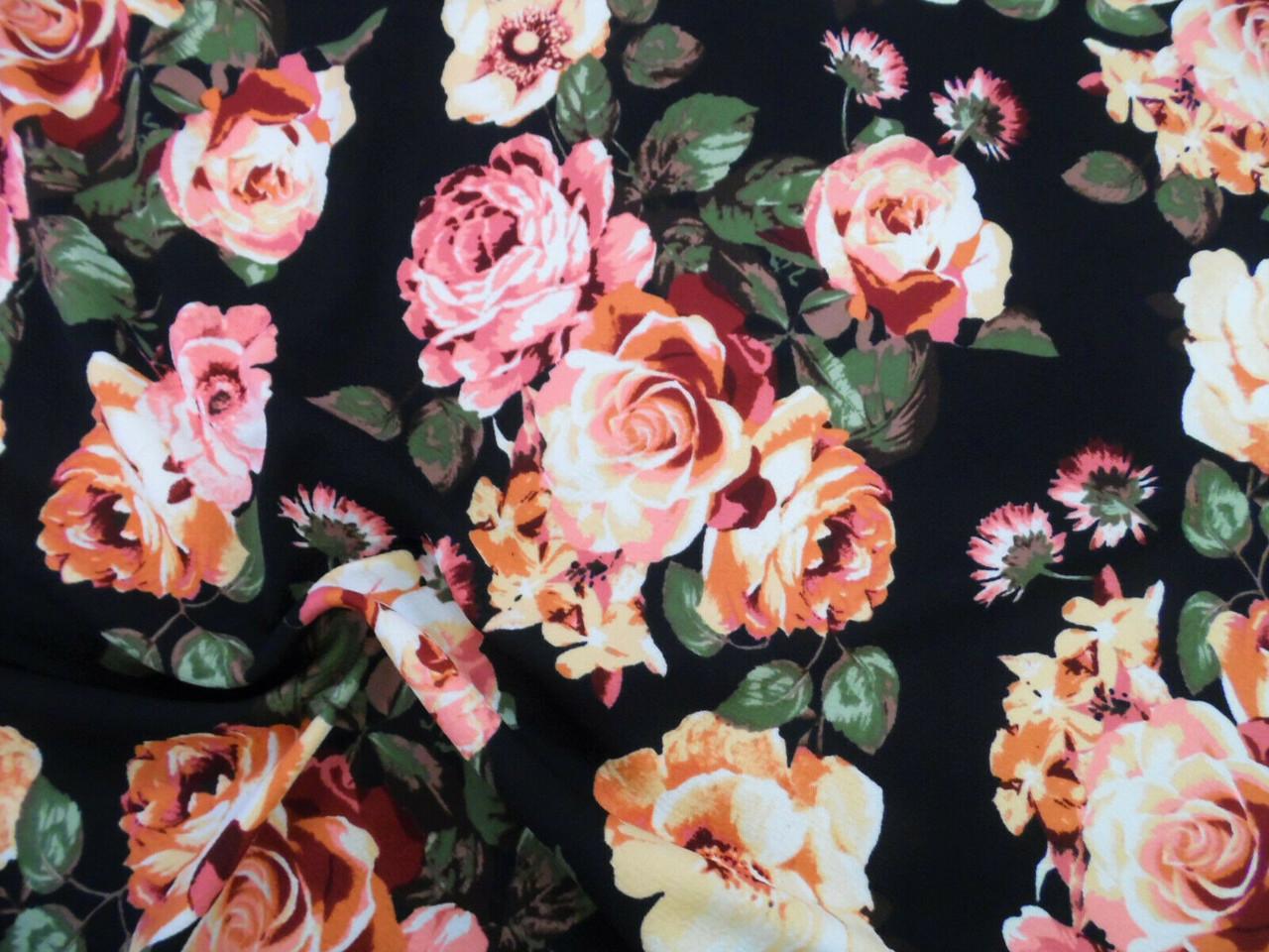Printed Liverpool Textured 4 way Stretch Fabric Black Mauve Peach Floral I105