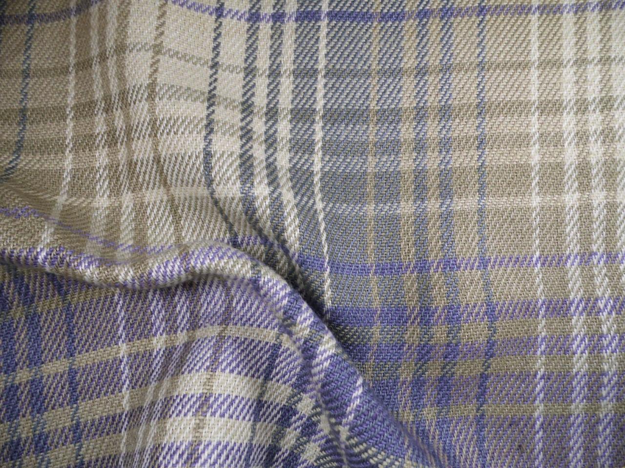 Robert Allen Beacon Hill Fabric Pampas Plaid Bay Blue Linen Jute Upholstery JJ39