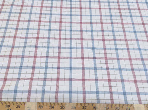 Discount Fabric Top Weight Cotton Shirting Apparel Red and Blue Plaid CT012