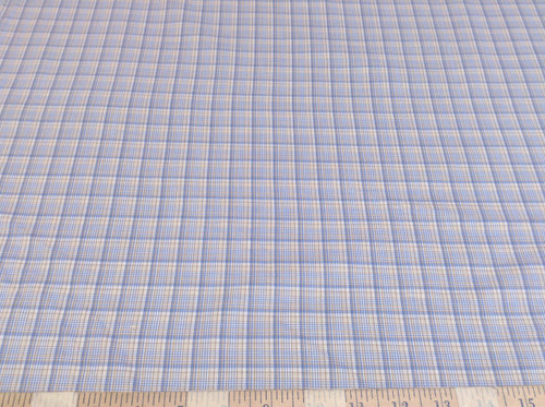 Discount Fabric Top Weight Cotton Shirting Apparel Blue and Tan Plaid CT014