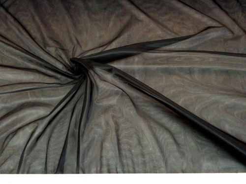 Discount Fabric nylon Tricot Black 15 denier Luster Sheer