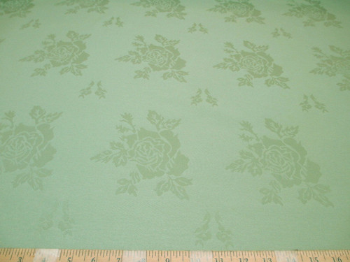 Discount Twill Tablecloth Fabric Jacquard All Over Rose Kiwi Green DR40