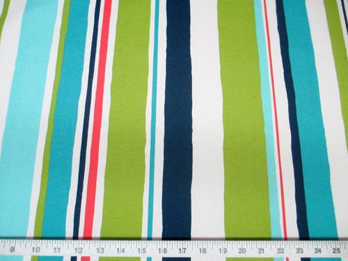 Discount Fabric Robert Allen Outdoor Upholstery Baja Stripe EM Turquoise RA01