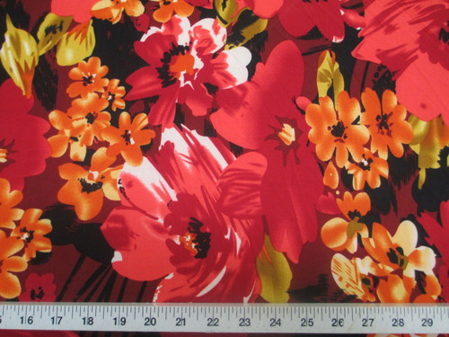 Discount Fabric Printed Lycra Spandex Stretch Bold Floral Red Orange B301