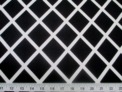Discount Fabric Printed Lycra Spandex Stretch Black Diamond White Lattice B400