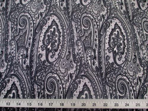 Discount Fabric Printed Lycra Spandex Stretch Paisley Grey, Black & White D200