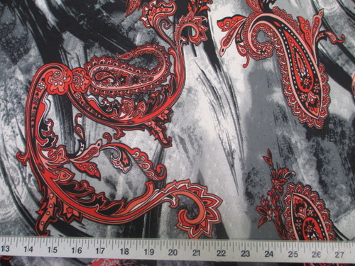 Discount Fabric Printed Lycra Spandex Stretch Red Paisley on Storm Cloud A402