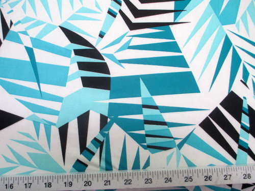 Discount Fabric Printed Lycra Spandex Stretch Mint Black Bamboo Leaves A200