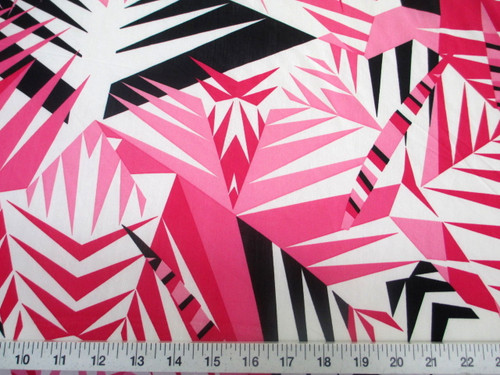 Discount Fabric Printed Lycra Spandex Stretch Pink Black Bamboo Leaves A302