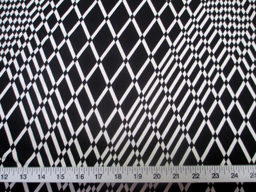 Discount Fabric Printed Lycra Spandex Stretch Black White Geometric Diamond B201