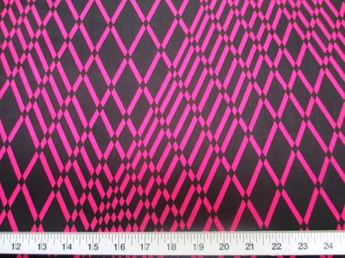 Discount Fabric Printed Lycra Spandex Stretch Pink Black Geometric Diamonds B202
