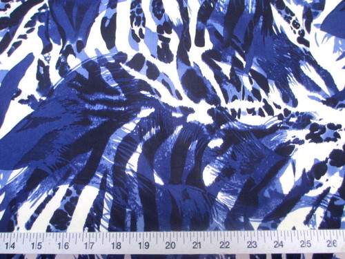 Discount Fabric Printed Lycra Spandex Stretch Big Cat Stripe Navy Blue E302