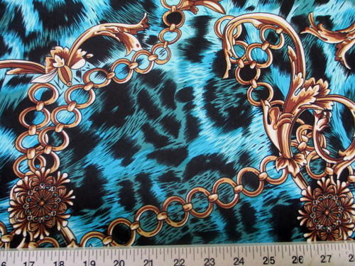 Discount Fabric Printed Lycra Spandex Stretch Big Cat Chains Black & Blue C301