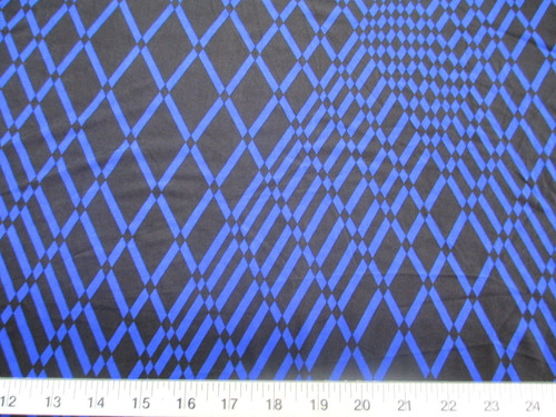 Discount Fabric Printed Lycra Spandex Stretch Royal Blue Geometric Diamonds B300