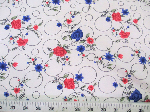 Discount Fabric Challis Rayon Pink and Blue Floral on Bubbles 2 yds @ $6.99 K201