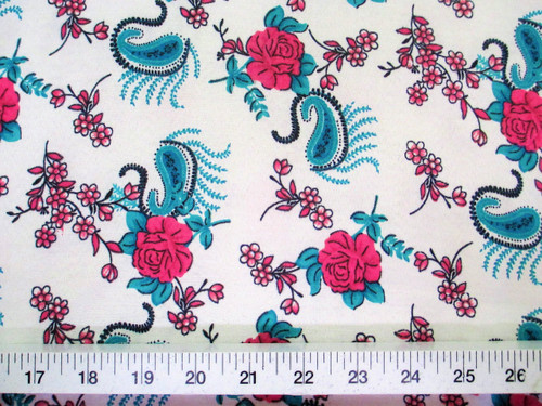 Discount Fabric Challis Rayon Pink Floral Teal Paisley 2 yds @ $6.99 K202