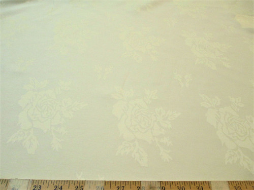 Discount Twill Tablecloth Fabric Home Decor Jacquard All Over Rose Ivory DR5