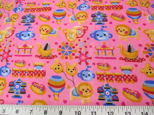 Discount Fabric Quilting Cotton Pink Carnival Day Trains Carousel Lion K301