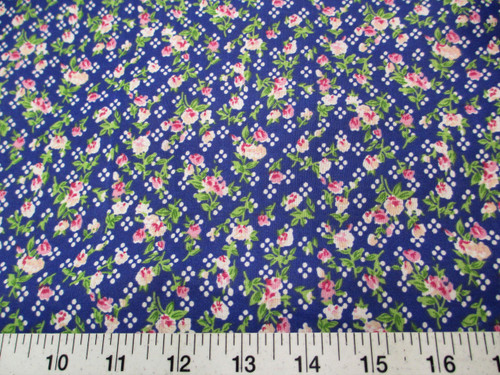 Discount Fabric Quilting Cotton Pink, Peach and Green Floral on Blue K304