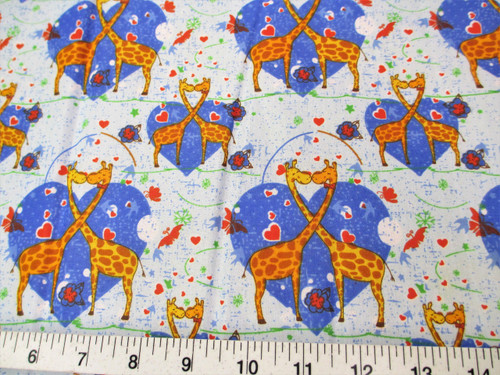Discount Fabric Cotton Apparel Heart Kissing Blue Giraffes K302