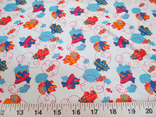 Discount Fabric Cotton Apparel Teddy Bear Airplanes Blue K303