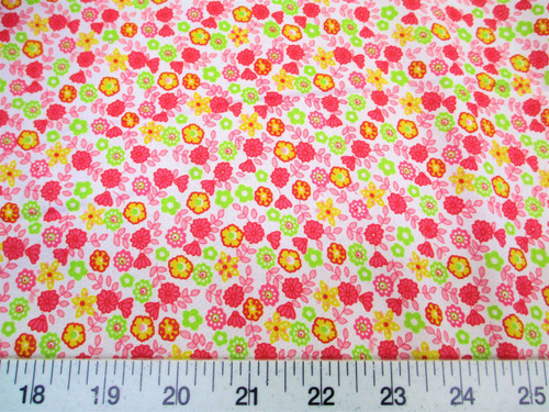 Discount Fabric Cotton Apparel Pink, Yellow and Green Floral K310