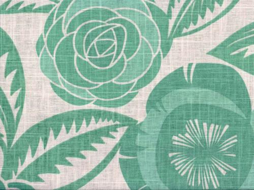 Discount Fabric Richloom Upholstery Drapery Linen Havana Aqua Green Floral LL32