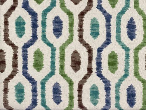 Fabric Richloom Upholstery Drapery Linen Saltio Capri Geometric Ikat LL43