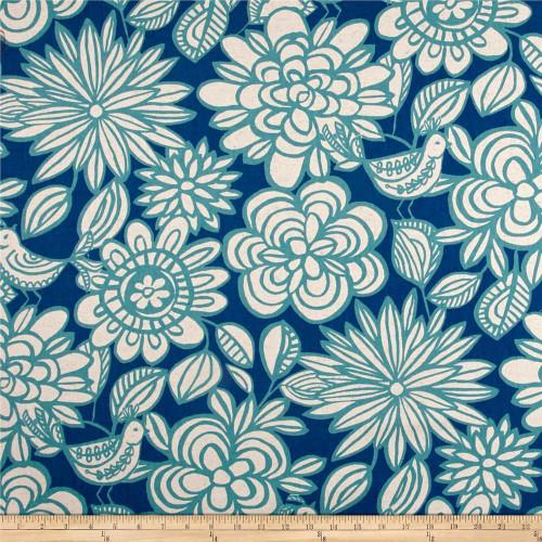 Discount Fabric Richloom Upholstery Drapery Linen Mcvie Denim Floral Birds MM10