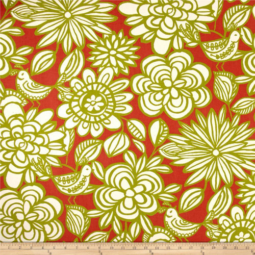 Discount Fabric Richloom Upholstery Drapery Linen Mcvie Mango Floral Birds MM11