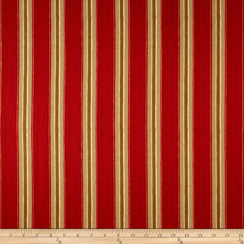 Discount Fabric Richloom Upholstery Drapery Sateen Slim Indiar Red Stripe OO22