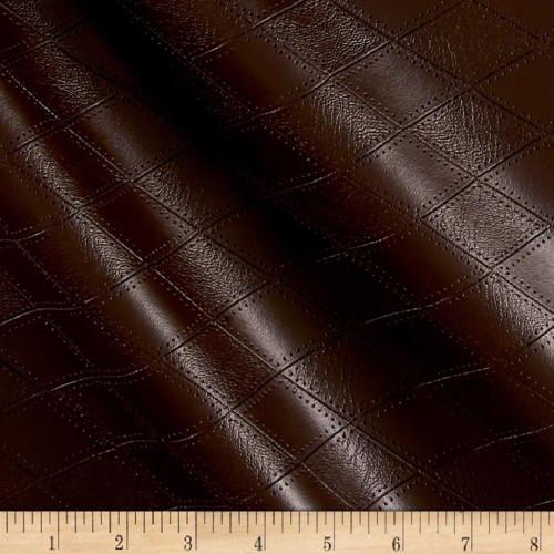 Fabric Richloom Tough Faux Leather Pleather Vinyl Hovland Chocolate Diamond PP42