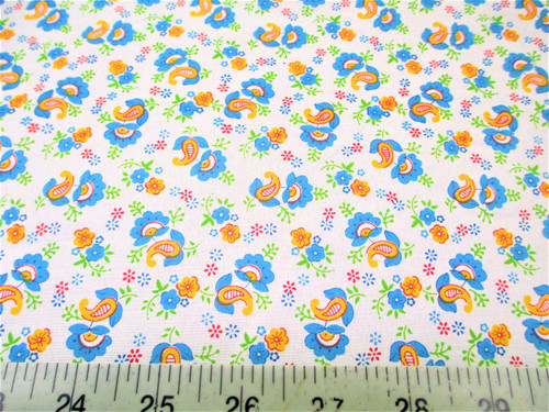 Discount Fabric Quilting Cotton Blue, Orange and Green Floral Paisley J406