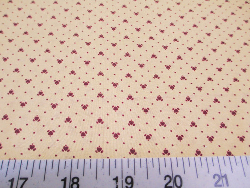 Discount Fabric Quilting Cotton Keepsake Calico Burgundy Heart T12