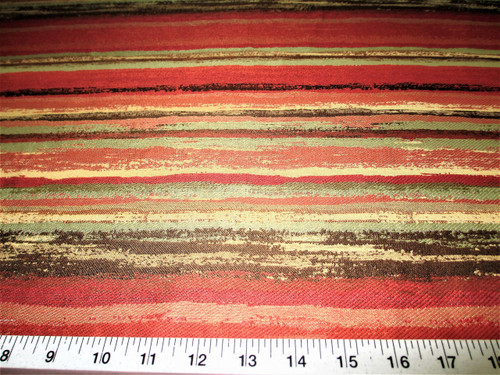 Discount Fabric Upholstery Drapery Painterly Persimmon Jacquard Stripe CC22