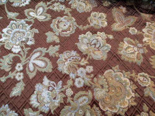 Fabric Robert Allen Beacon Hill Mademoiselle Mink Embroidered Silk Floral II22