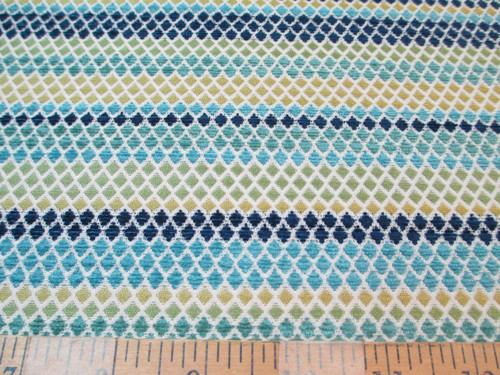 Fabric Richloom Upholstery Drapery Vasan Peacock Diamond Stripe Chenille SS12