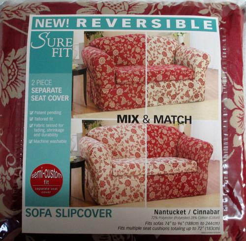 Sure Fit Reversible 2 Piece Sofa Slipcover Nantucket Cinnabar Floral