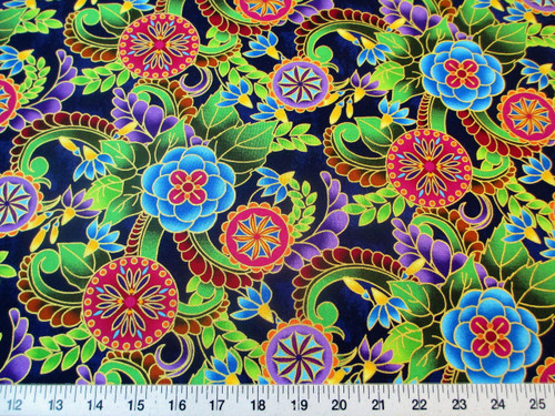 Fabric Quilting Cotton Legacy Studio Polynesia Master Medallion Floral T25
