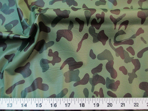 Discount Fabric Faux Leather Pleather Woodland Camouflage Upholstery Vinyl L20