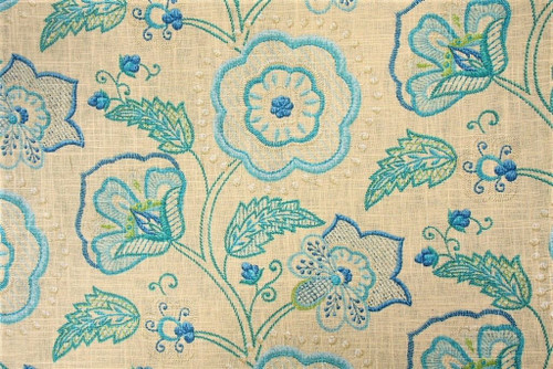 Discount Fabric Richloom Upholstery Drapery Cimmaron Cobalt Linen Floral GG30