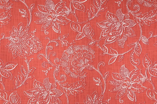 Discount Fabric Richloom Upholstery Drapery Benson Agean Coral Floral MM39