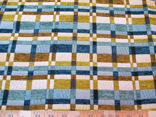 Discount Fabric Richloom Upholstery Drapery Prodigy Surf Chenille Plaid RR22