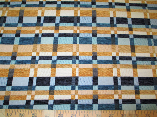Discount Fabric Richloom Upholstery Drapery Prodigy Wedgewood Chenille Plaid RR2