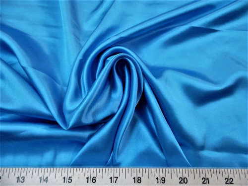Discount Fabric Charmeuse Silky Bridal Satin Apparel Ocean Blue CS14