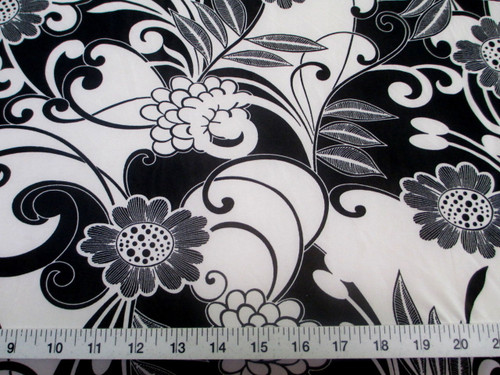 Discount Fabric Printed Jersey Knit ITY Stretch Black White Daisies Floral D400