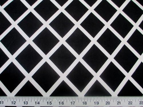 Discount Fabric Printed Jersey Knit ITY Stretch Black Diamond White Lattice B400